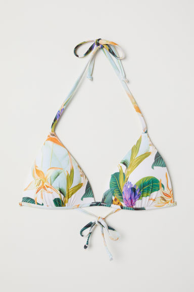 Padded triangle bikini top - White/Floral - Ladies | H&M