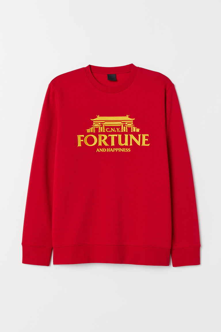 Sweatshirt with a motif - Red/Fortune and Happiness - Men | H&M CN