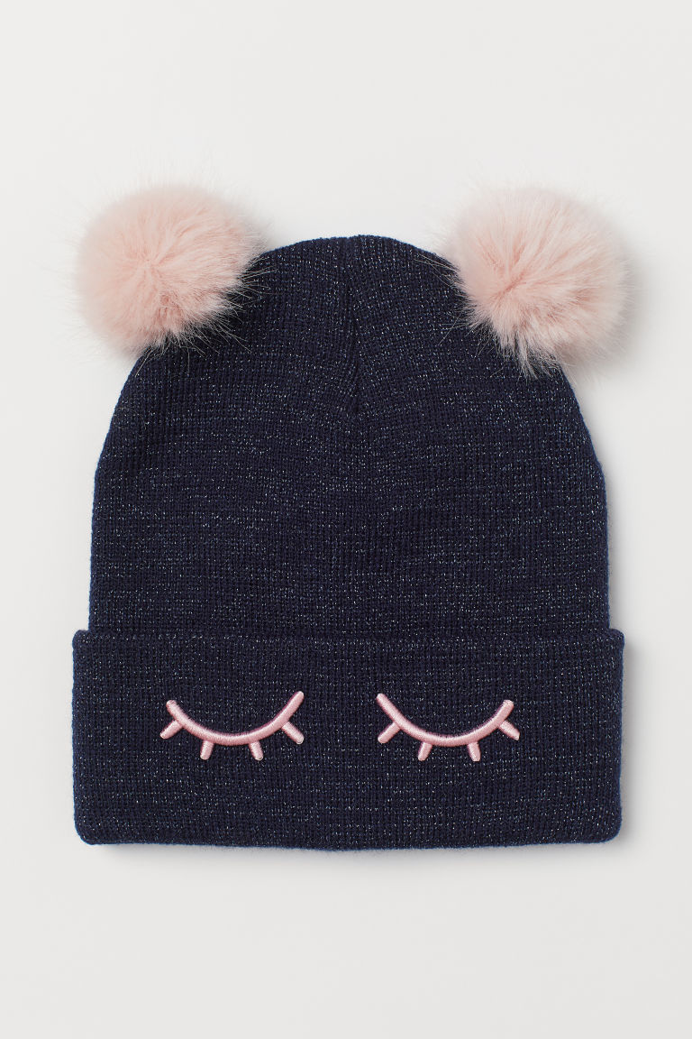 Hat with pompoms - Dark blue - Kids | H&M GB
