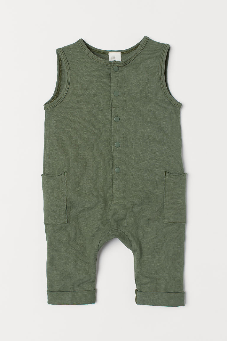 Romper suit with pockets - Khaki green - Kids | H&M CN