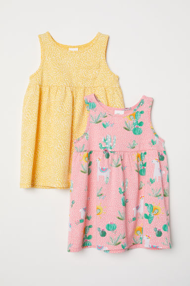 2-pack jersey dresses - Yellow/Patterned - Kids | H&M CN