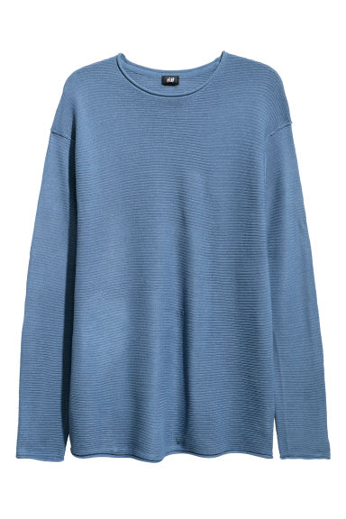Textured-knit jumper - Blue - Men | H&M CN