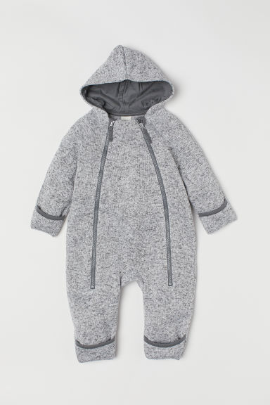 Knitted fleece all-in-one suit - Grey marl - Kids | H&M CN