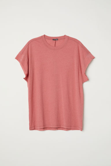 T-shirt with cut-off sleeves - Light red - Men | H&M