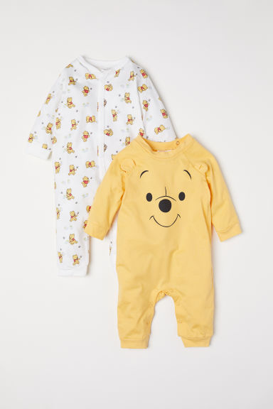 2-pack all-in-one pyjamas - Yellow/Winnie the Pooh - Kids | H&M CN