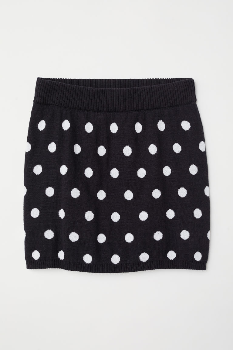 Fine-knit skirt - Black/Spotted - Kids | H&M CN