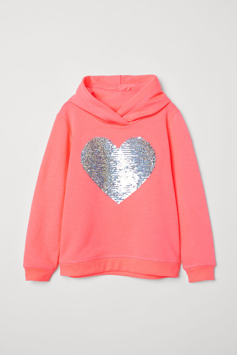 Top with Reversible Sequins - Neon pink/heart - Kids | H&M CA