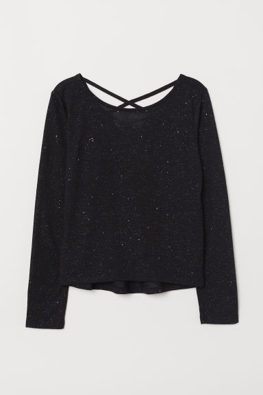 Glittery jersey top - Black - Kids | H&M