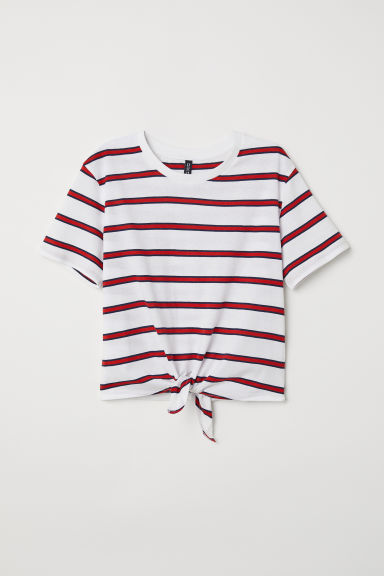T-shirt with a tie - White/Red striped -  | H&M