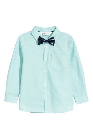 Shirt with a tie/bow tie - Light turquoise/Bow tie - Kids | H&M CN