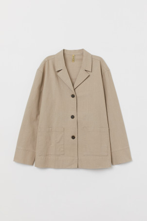 Straight-cut linen-mix jacket