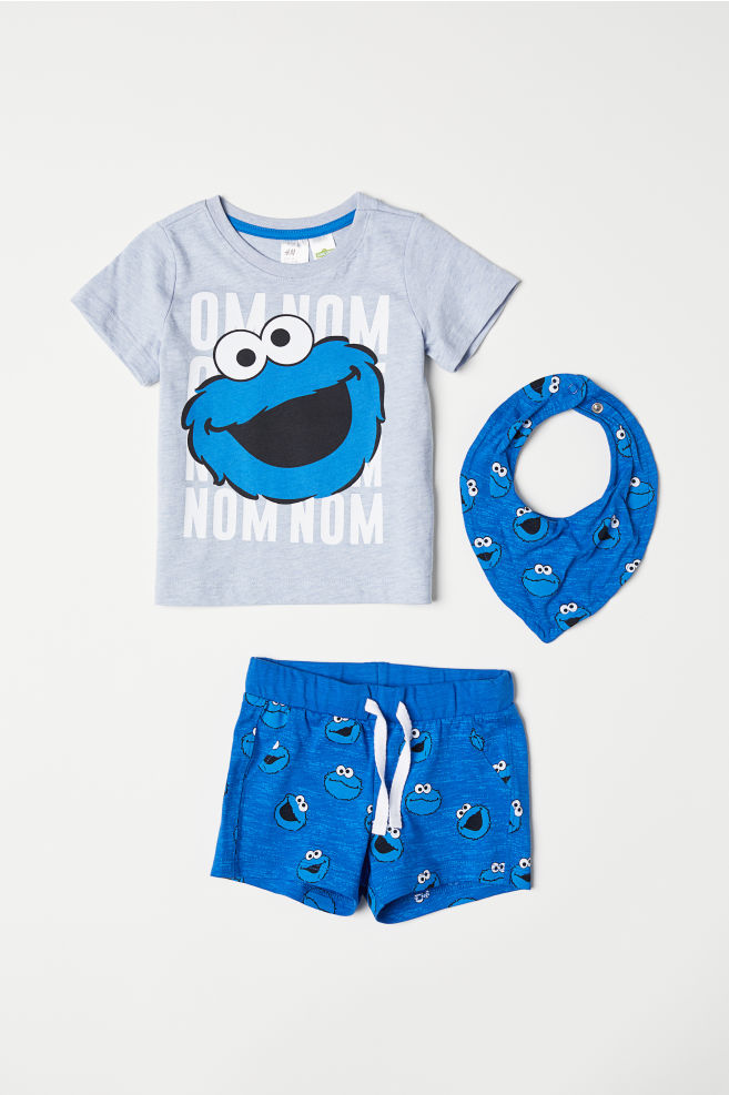 9bc53381b 3-piece Jersey Set - Blue/Sesame Street - Kids | H&M US 1