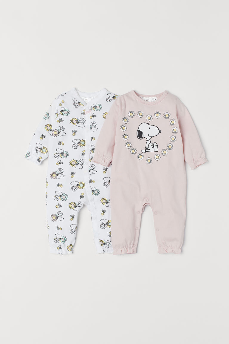 2-pack all-in-one pyjamas - Light pink/Snoopy - Kids | H&M CN