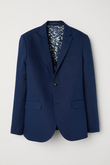 Linen-blend jacket Slim fit - Dark blue marl -  | H&M