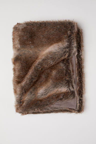 Faux fur blanket - Brown - Home All | H&M CN