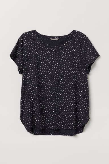 H&M+ Patterned jersey top - Dark blue/Stars - Ladies | H&M CN