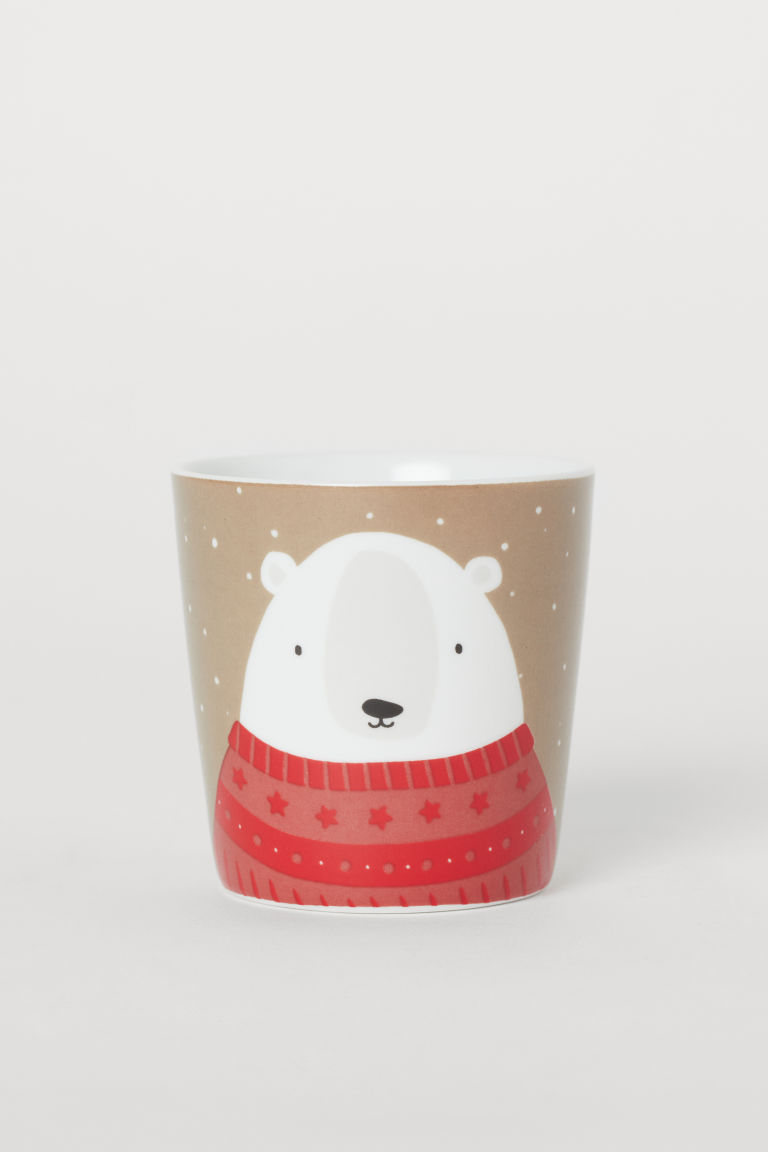 Tazza in porcellana con motivo - Greige/orso polare - HOME | H&M CH