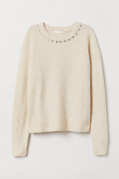 Jumper with sparkly stones - Natural white - Ladies | H&M