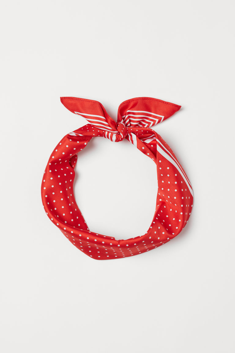 Patterned Scarf - Bright red/dotted - Ladies | H&M US