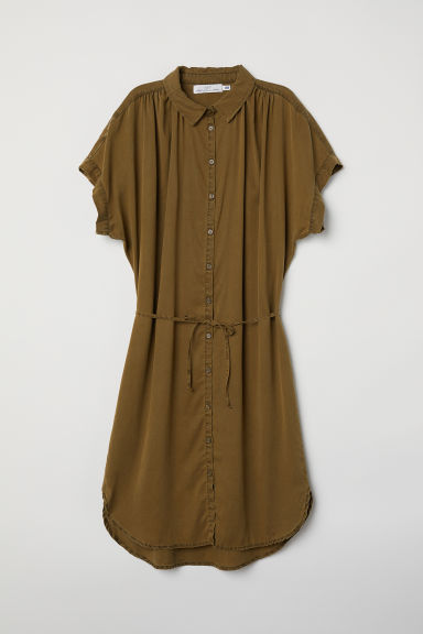 Lyocell shirt dress - Khaki green - Ladies | H&M CN