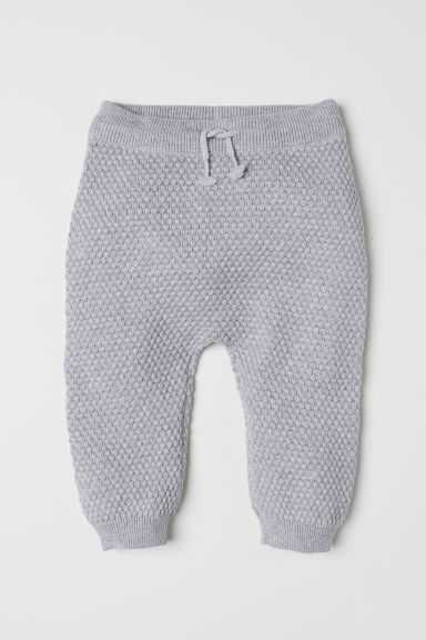 Textured-knit trousers - Light grey marl - Kids | H&M CN