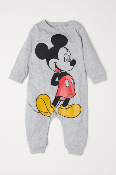 Cotton pyjamas - Light grey marl/Mickey Mouse - Kids | H&M