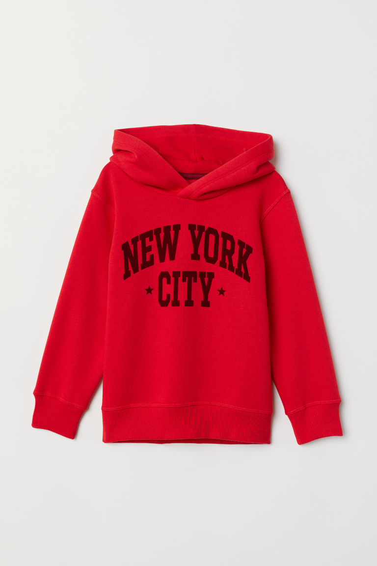 Printed Hooded Sweatshirt - Red - Kids | H&M US