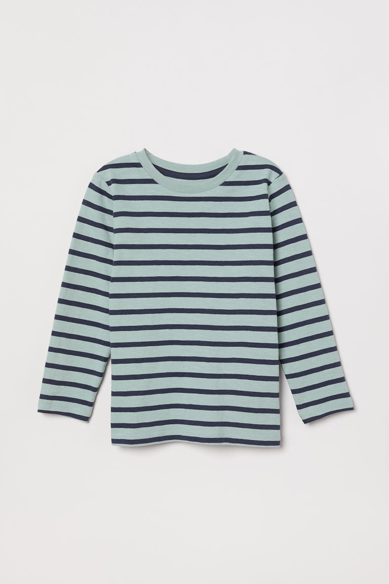 Jersey top - Light turquoise/Blue striped - Kids | H&M CN