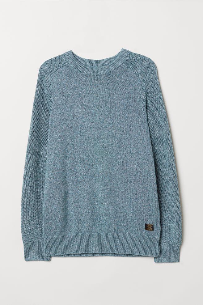 7fdfdf358 Fine-knit Cotton Sweater - Blue melange - Men