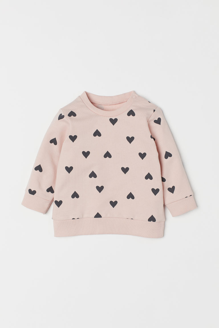 Cotton sweatshirt - Light pink/Hearts - Kids | H&M CN