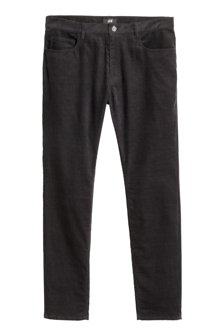 Corduroy trousers Skinny fit - Dark blue - Men | H&M