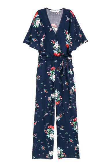 Patterned jumpsuit - Dark blue/Floral - Ladies | H&M
