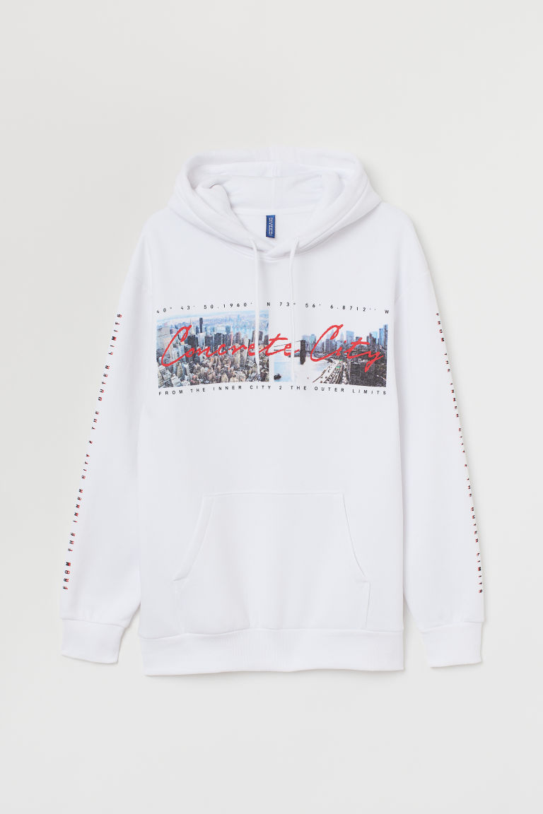 Hooded top with a motif - White/Concrete City - Men | H&M