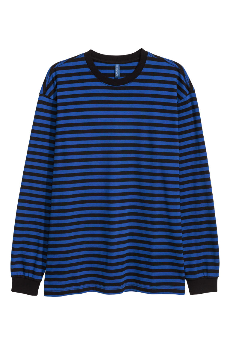 Long-sleeved jersey top - Bright blue/Black striped - Men | H&M