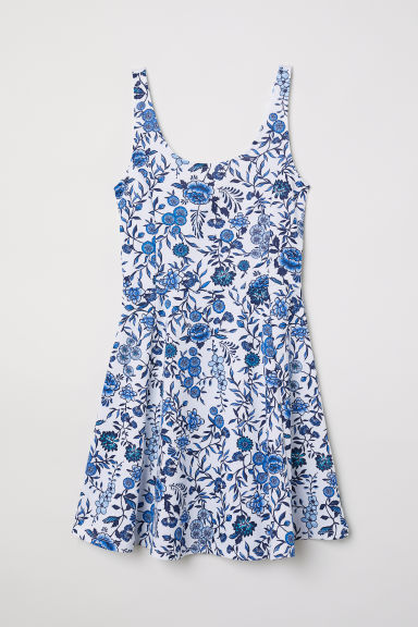 Sleeveless jersey dress - White/Blue floral -  | H&M