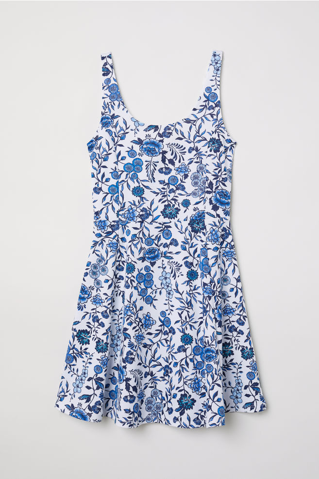 949f1911e095 Sleeveless Jersey Dress - White/blue floral - Ladies | H&M ...