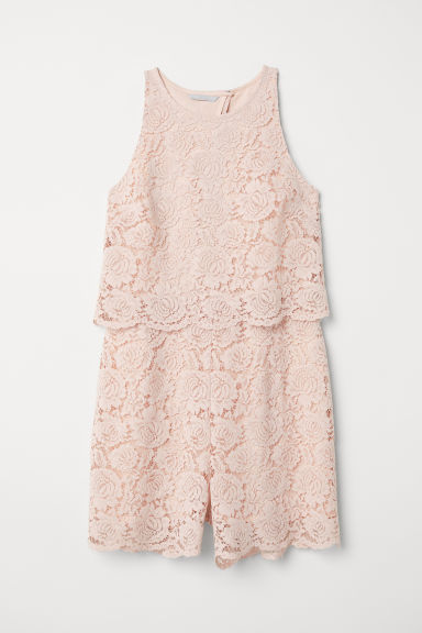 Lace playsuit - Powder pink -  | H&M
