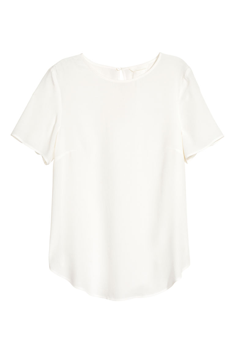 Short-sleeved blouse - White - Ladies | H&M