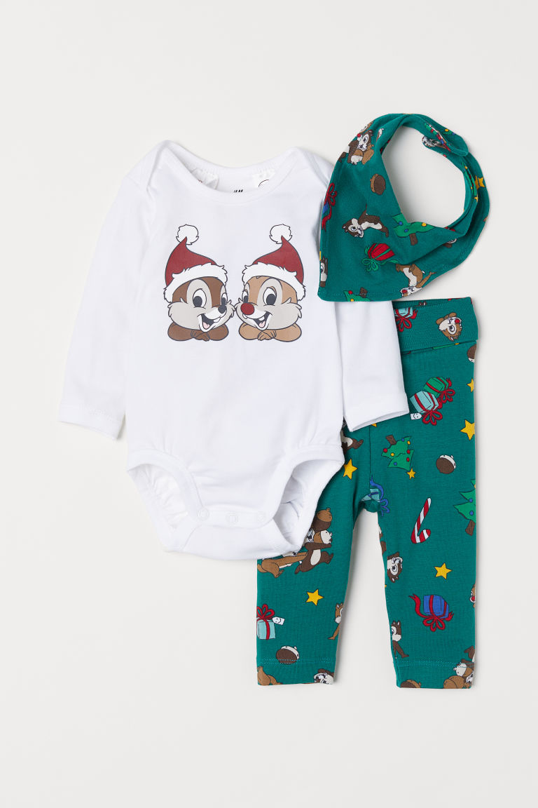 3-piece jersey set - White/Chip 'n' Dale -  | H&M CN