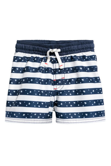 Patterned swim shorts - Dark blue/Striped - Kids | H&M
