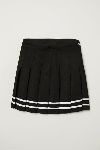 Short pleated skirt - Black -  | H&M CN