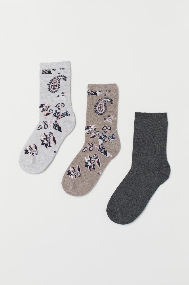3542b48b54b16 Chaussettes, 3 paires - Taupe/motif cachemire - FEMME | H&M ...