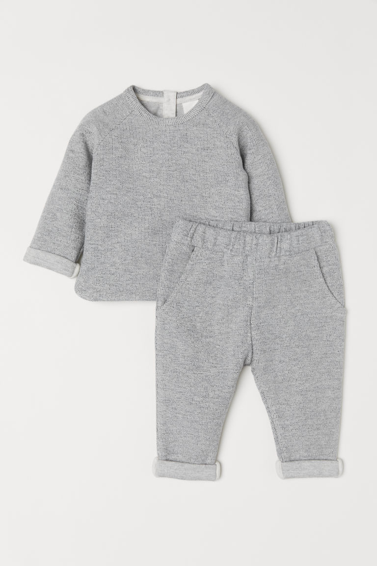Top and trousers - Light grey marl - Kids | H&M