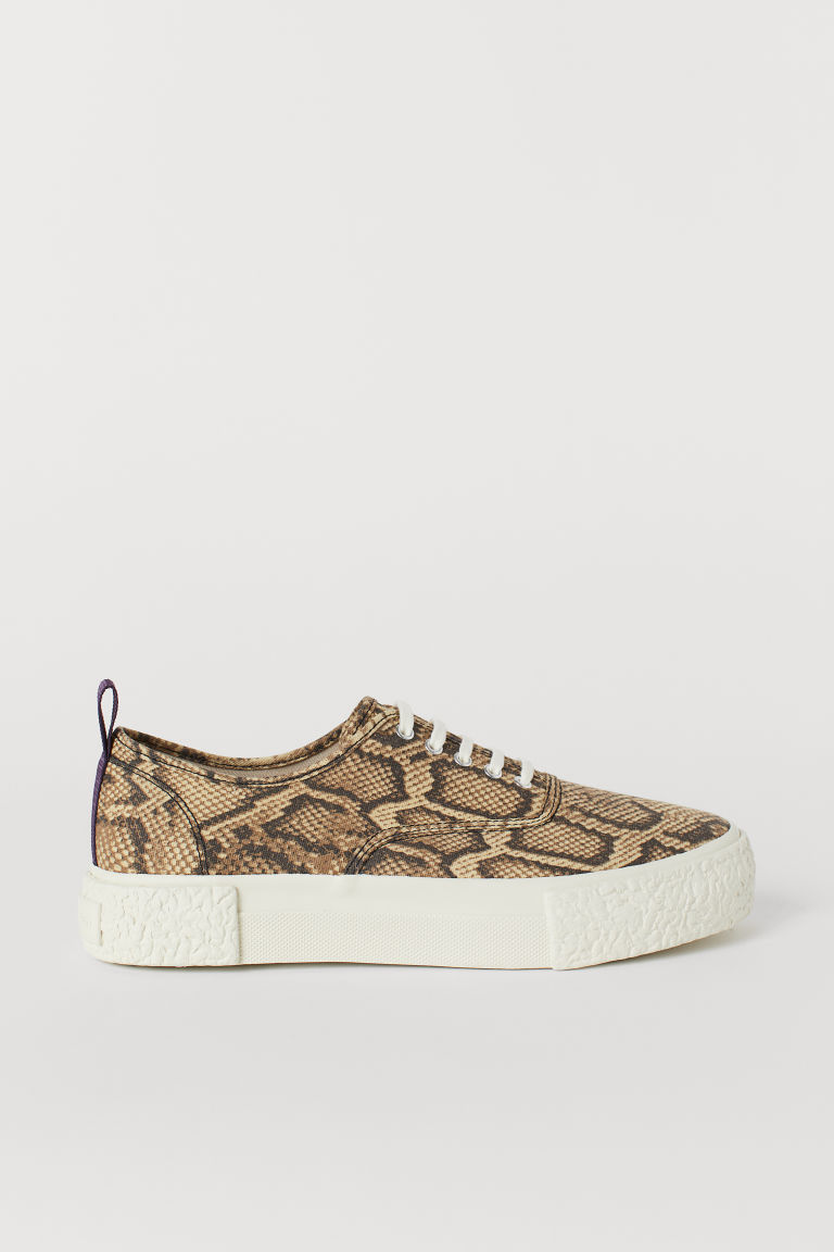 Canvas trainers - Beige/Snakeskin-patterned -  | H&M