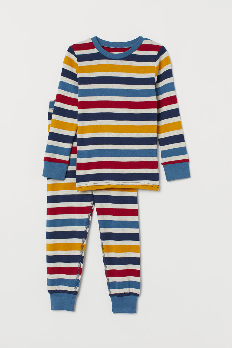 Jersey pyjamas - Blue/Striped - Kids | H&M