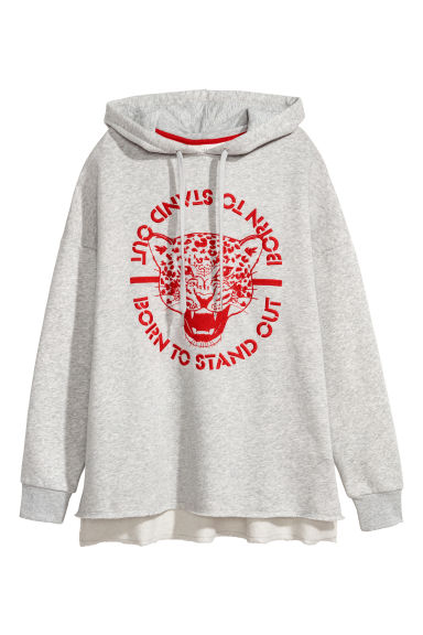 Hooded top with embroidery - Light grey/Leopard print -  | H&M