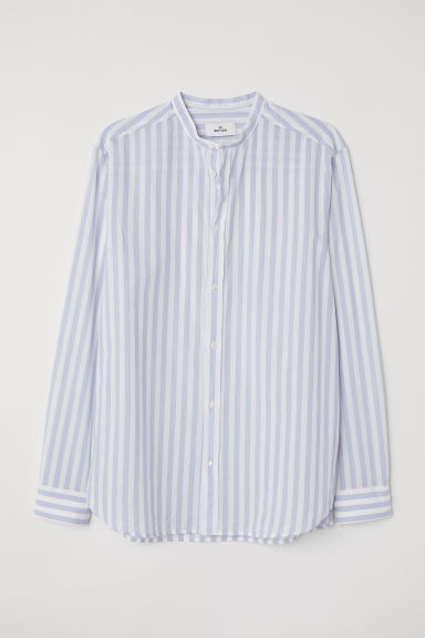 Grandad shirt - Light blue/White striped - Men | H&M