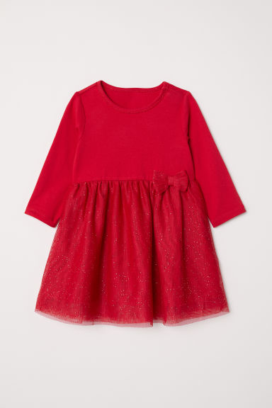 Glittery jersey dress - Red - Kids | H&M CN
