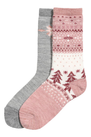 2-pack socks - White/Powder pink - Ladies | H&M