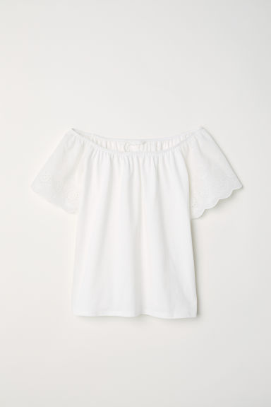 Top with embroidery - White/Embroidery - Ladies | H&M CN